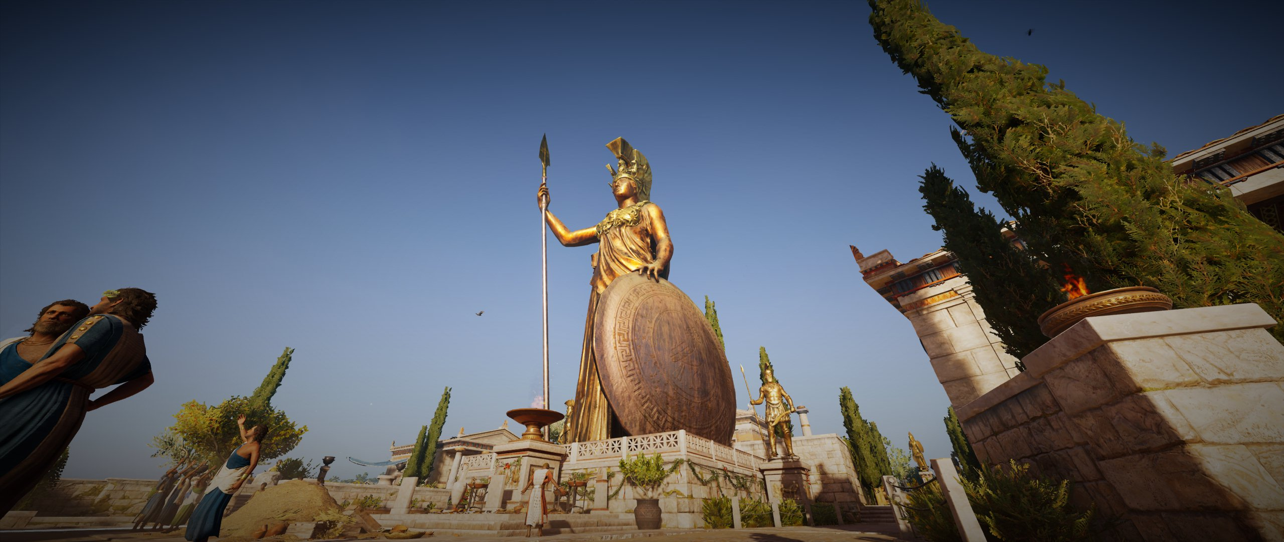 Athena bronze statue in Athens in Assassins Creed Odyssey